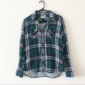 Beach Lunch Lounge Flannel Plaid Top